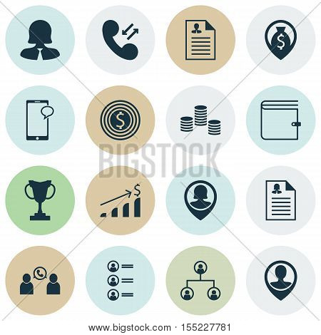 Set Of Human Resources Icons On Cellular Data, Tree Structure And Employee Location Topics. Editable