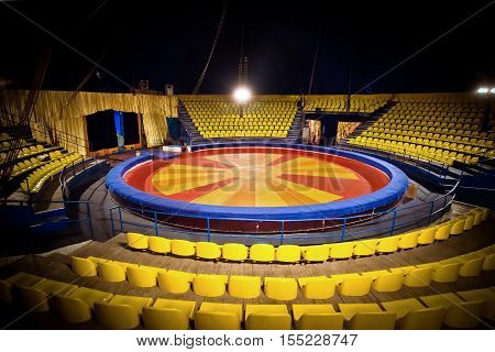 Interior - circus ring and chairs for people