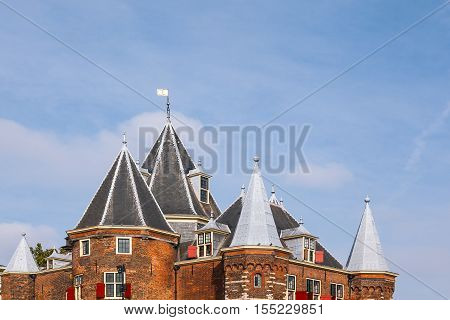 Traditional view of architectural buildings roofs in Holland