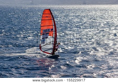 Israel Windsurf Competition In Bay Of Eilat. Israel