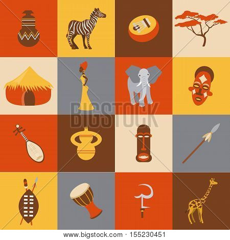 Collection of african ethnic vector icon flat style. Africa icon for website, tourism, travel, mobile phones and social networks.