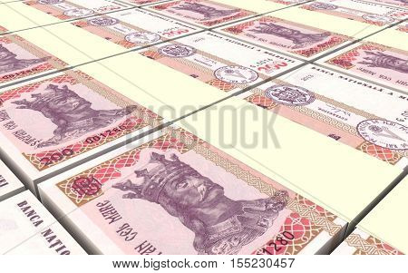 Moldovan leu bills stacks background. 3D illustration.