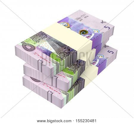 Kuwait dinars bills isolated on white background. 3D illustration.
