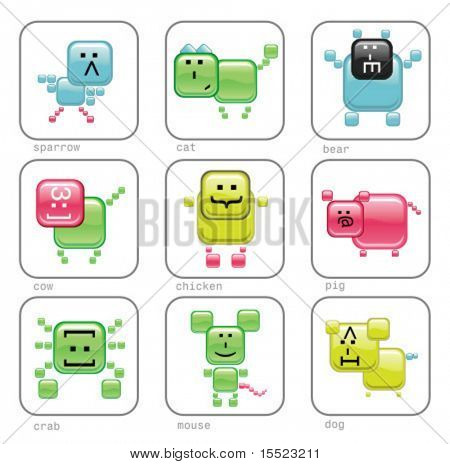 Internet web animals. Glossy internet characters icons. To see similar, please visit my gallery.