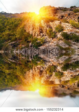 Picturesque scene in Goynuk canyon, located in District of Kemer, Antalya Province. Beautiful sunrise scenery in Turky, Asia