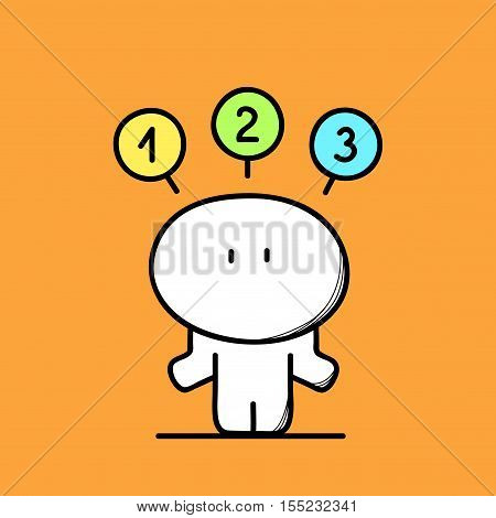 Cute funny confused man makes a choice from the options on the orange background. Make a decision - cartoon vector illustration.