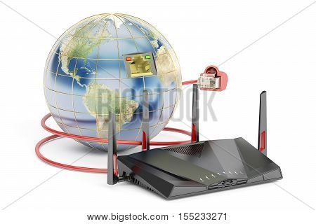 global networking connection concept earth with router. 3D rendering isolated on white background