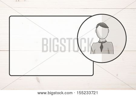 Name badge with avatar on white wooden background
