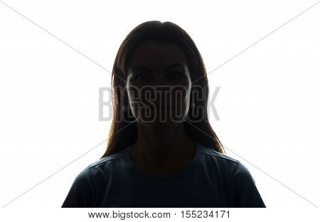 Young Woman Look Ahead With Flowing Hair - Horizontal Silhouette