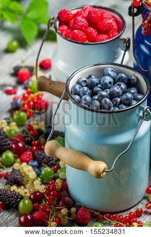 Closeup Of Fresh Berry Fruits In Churn