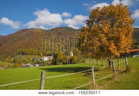 Autumn in Tuhinj near Kamnik town, Slovenia