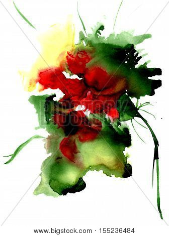 Watercolor fantasy flower. Hand drawn floral artistic illustration. For design, background and textile.