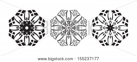 Three tribal flowers artwork collection - tattoo vector