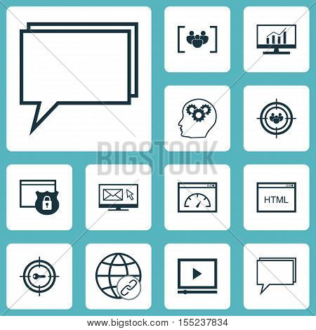 Set Of Seo Icons On Focus Group, Keyword Marketing And Conference Topics. Editable Vector Illustrati