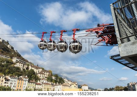 Cable Car To The Bastille In Grenoble And View Over The City Of Grenoble, France