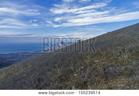 Grassy near the top of the Ai-Giorg mountain. Areal view on Sudak Bay. Crimea September.
