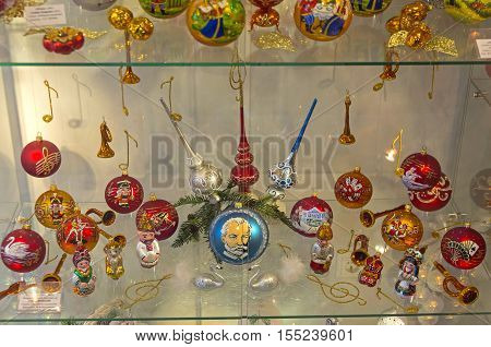 KLIN RUSSIA - JANUARY 16 2016: Museum of Christmas toys. Collection of toys dedicated to the characters of operas and ballets of Tchaikovsky.