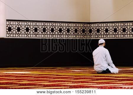 Muslim man prays at a mosque in Argentina