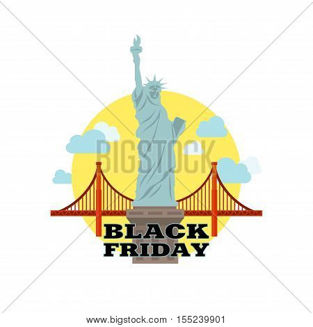 Black Friday sale inscription design template. Black Friday banner. Liberty statue close up.