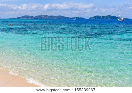 Turquoise Water On Mana Island, Fiji