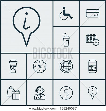 Set Of Airport Icons On Drink Cup, Accessibility And Shopping Topics. Editable Vector Illustration.