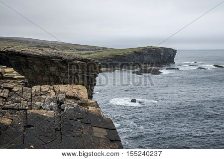 Panorama of Orkney coastline Yesnaby cliff landscape