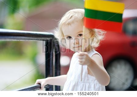 Adorable Toddler Girl With Lithuanian Flag