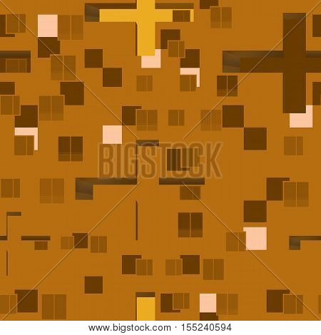 Abstract seamless pattern set : urban rhythm on brown background.