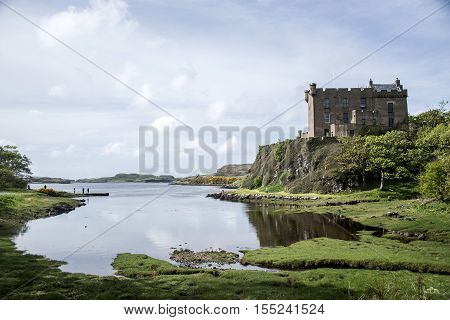 Landscape around Loch Dunvegan Isle of Skye Scotland Great Britain