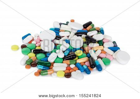 Collection of colorful pills on a white background