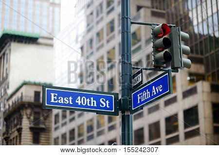 Intersection Of East 40Th Street And 5Th Ave In New York