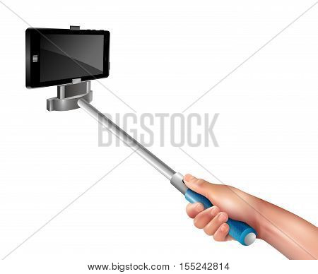 Hand holding blue selfie stick with black phone on white background realistic vector illustration