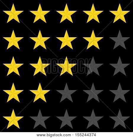 Rating stars panel. Customer review, vote navigation bar. Vector satisfaction level symbol. Vector illustration