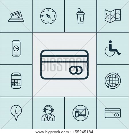Set Of Airport Icons On Accessibility, Road Map And Plastic Card Topics. Editable Vector Illustratio