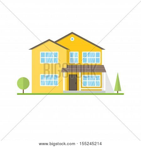 Vector flat icon suburban american house. For web design and application interface, also useful for infographics.