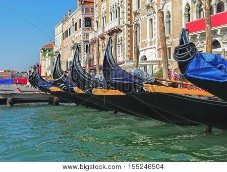 Row of docked venetian gondolas. Gondolas are very popular sort of entertainment in Venice Italy