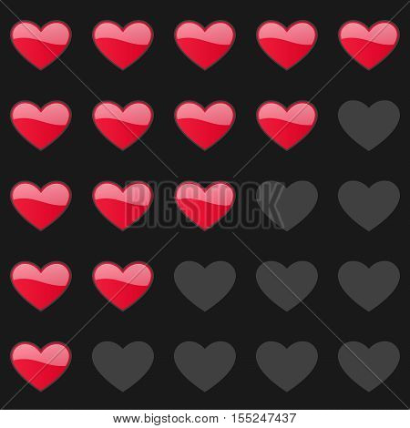 Rating hearts panel. Customer review, vote navigation bar. Vector satisfaction, like level symbol. Vector illustration
