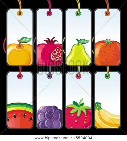 Set of fruit tags. To see similar, please VISIT MY PORTFOLIO