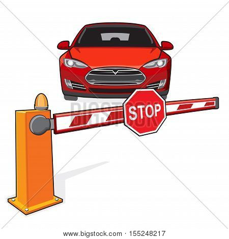 Closed barrier and a red car. Stop sign