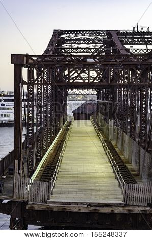 Boston Massachusetts USA - October 20 2016: Decrepit Northern Avenue Bridge between Boston and South Boston positioned to prevent use while its future is decided