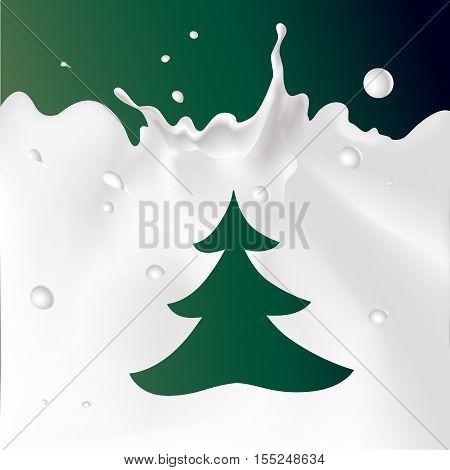 white milk splash on dark green background with xmas tree - vector illustration
