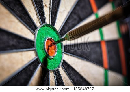 the darts in bull's eye close up