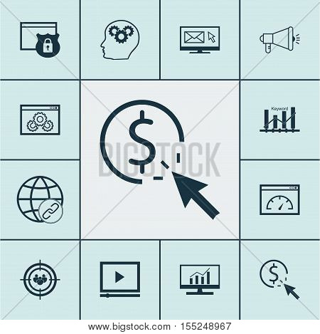 Set Of Marketing Icons On Newsletter, Loading Speed And Security Topics. Editable Vector Illustratio