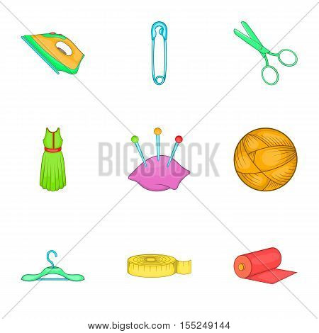 Embroidery kit icons set. Cartoon illustration of 9 embroidery kit vector icons for web