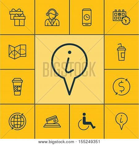 Set Of Transportation Icons On Accessibility, World And Info Pointer Topics. Editable Vector Illustr