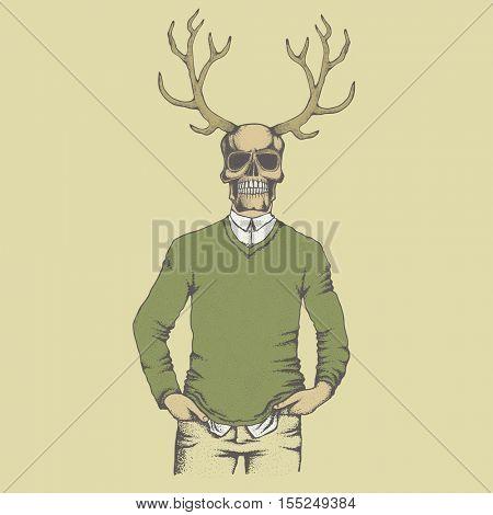 Vector skull with deer horn in sweater illustration. Hand drawn. Skull human in sweatshirt