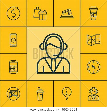 Set Of Travel Icons On Drink Cup, Operator And Calculation Topics. Editable Vector Illustration. Inc