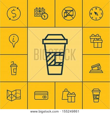 Set Of Travel Icons On Takeaway Coffee, Forbidden Mobile And Credit Card Topics. Editable Vector Ill
