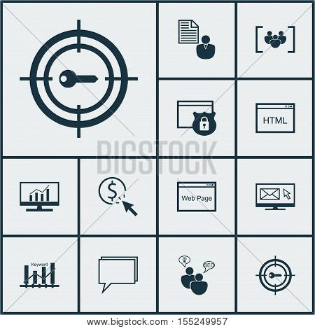 Set Of Seo Icons On Conference, Report And Questionnaire Topics. Editable Vector Illustration. Inclu