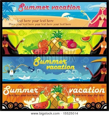 Vector vacation banners set 4. To see similar, please VISIT MY PORTFOLIO